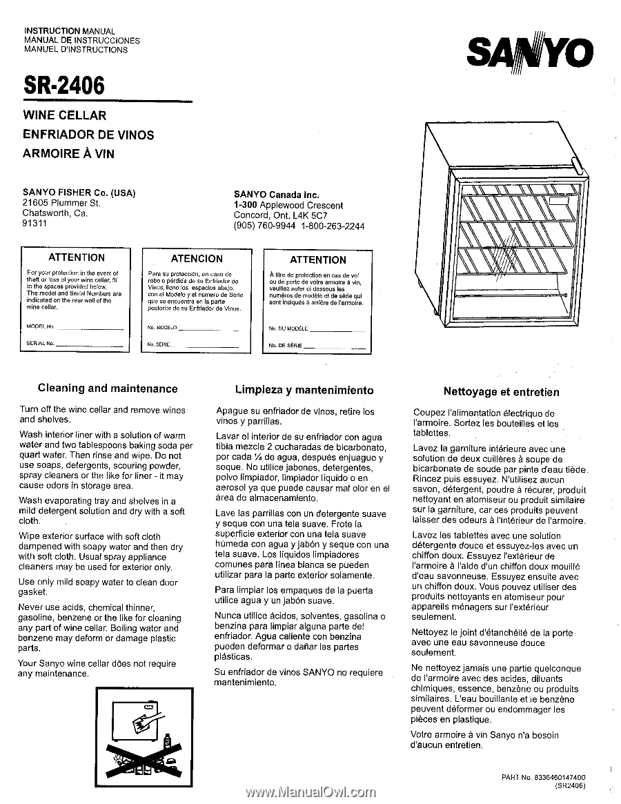 Sanyo SR-2406 | Owners Manual