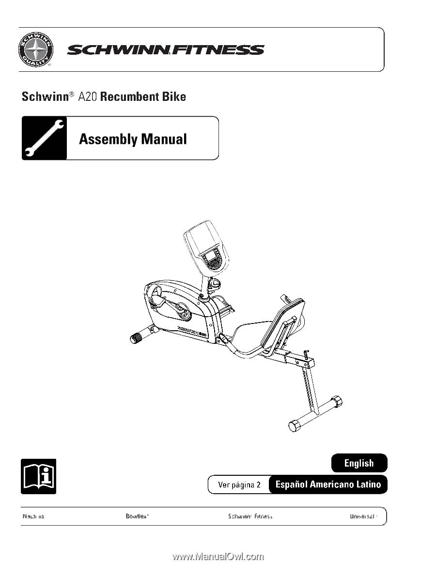 Schwinn Fitness A20 Recumbent Bike 170 Manual Guide