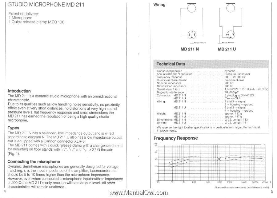 Sennheiser Md 211 Instructions For Use