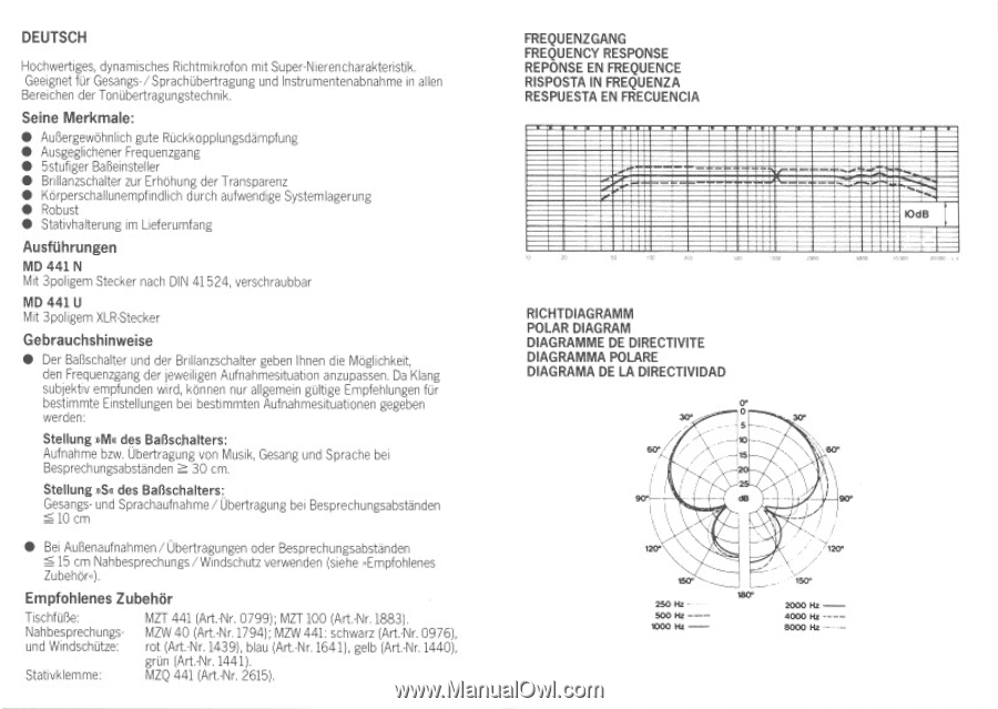 Sennheiser Md 441 U Instructions For Use Page 1