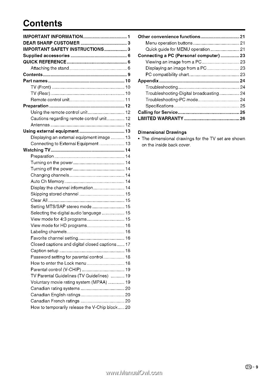 Sharp LC26SB24U | Operation Manual