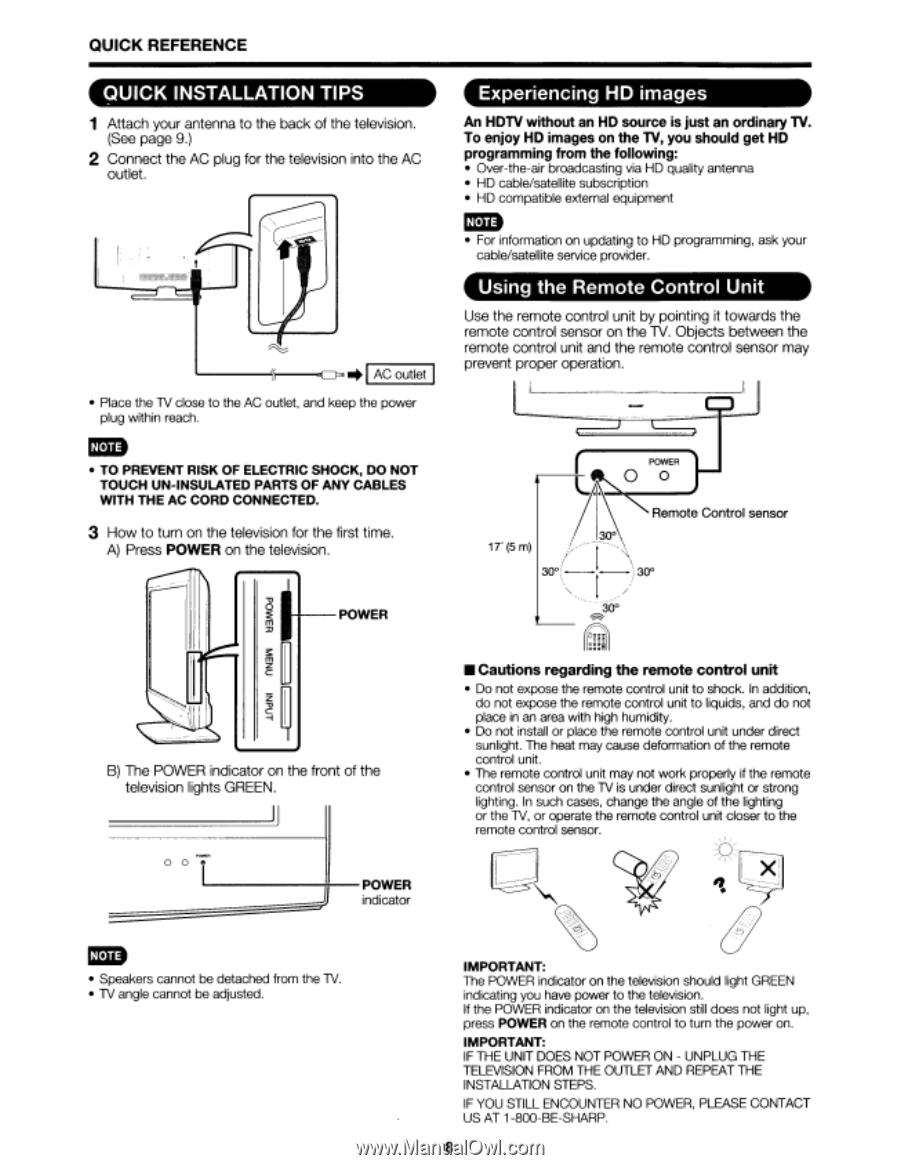 Sharp LC32D47UA   Operation Manual - Page 13