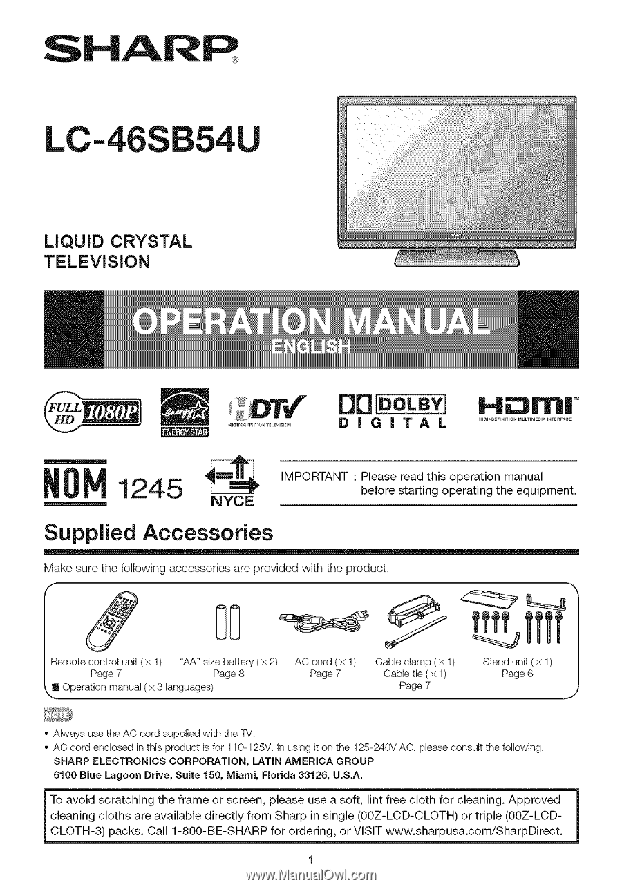 sharp lc46sb54u operation manual page 6 rh manualowl com sharp lc-46sb54u manual Sharp View Cam Cameras