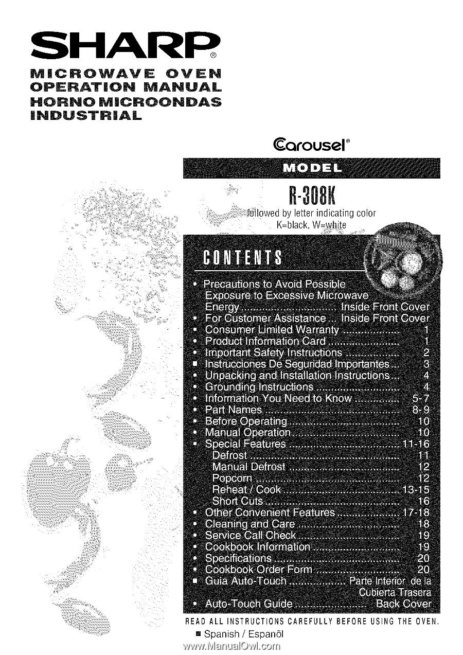Sharp R 308kw Operation Manual