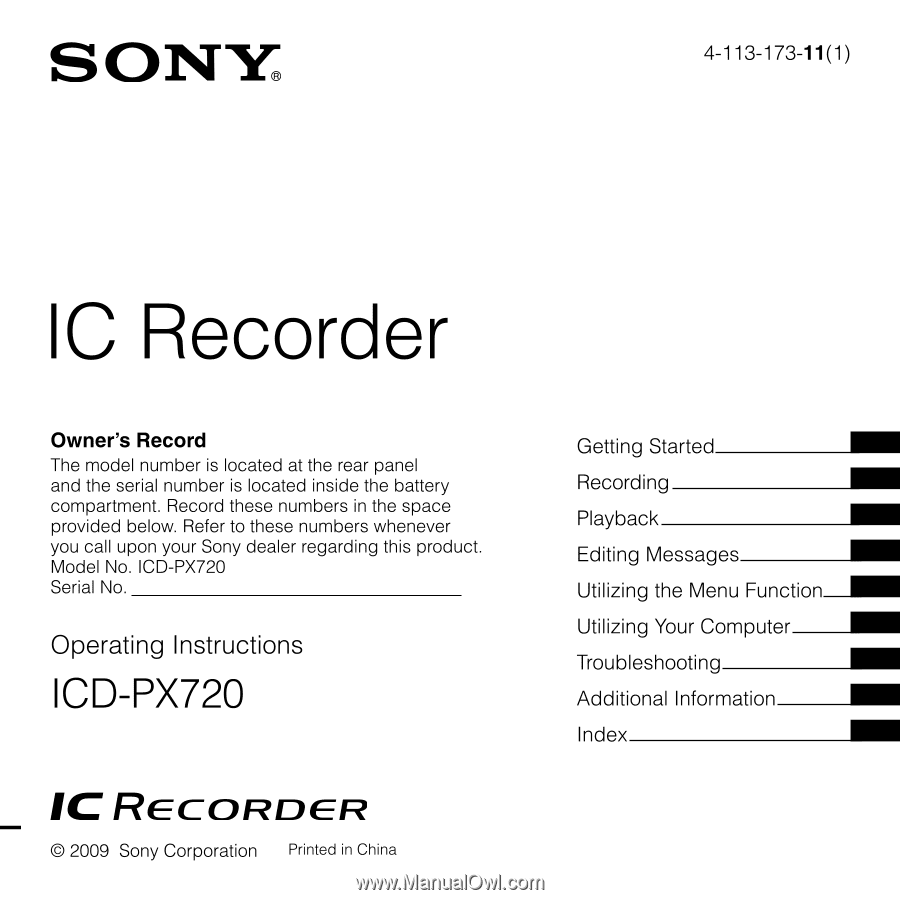 sony icd px720 operating instructions rh manualowl com sony ic recorder icd-px720 software sony digital voice recorder icd-px720 software download