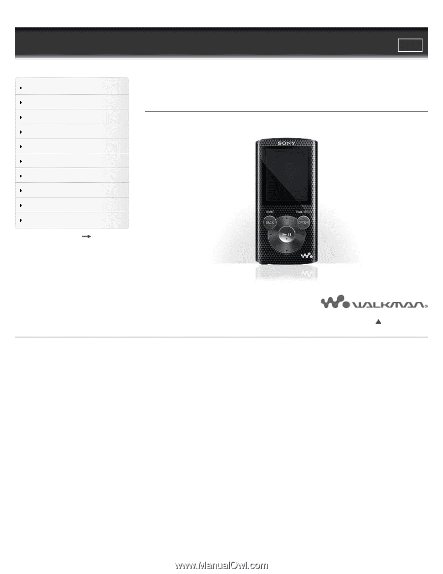 sony walkman nwz e383 manual