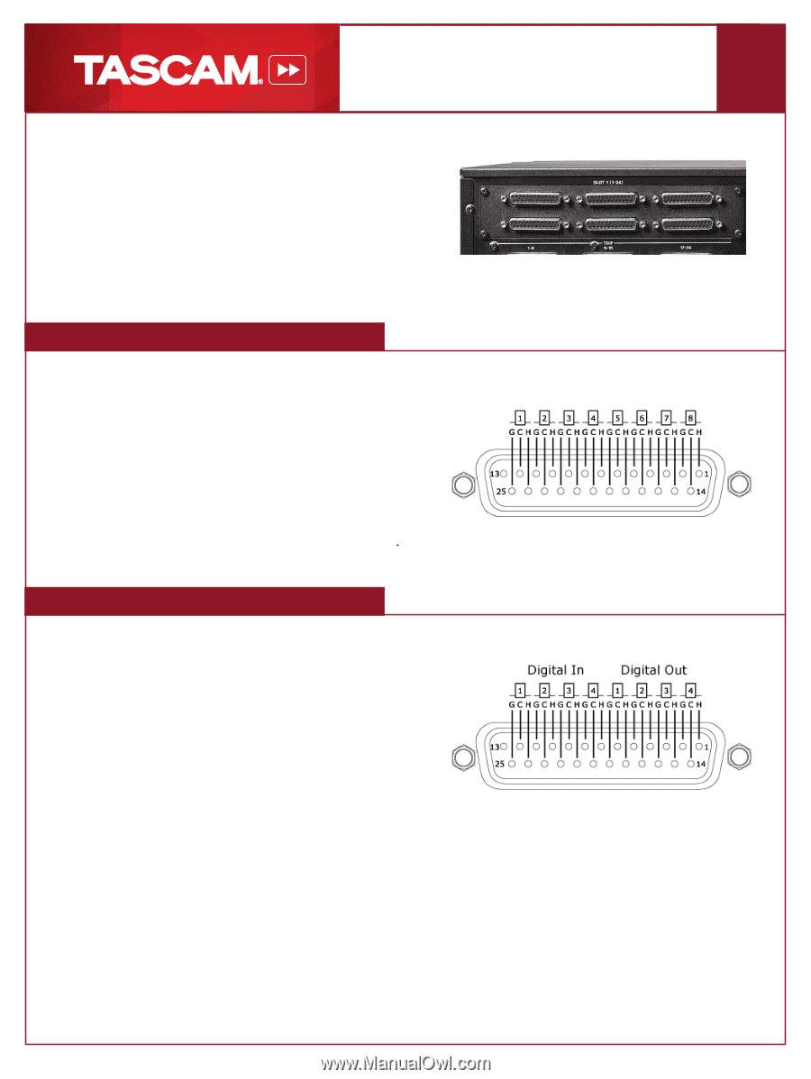 TEAC DM-4800 | TASCAM DB25 analog and AES:EBU pinouts