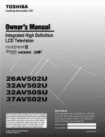 toshiba 32av502u owner s manual english rh manualowl com Toshiba 32AV502U Manual Toshiba 52HM84