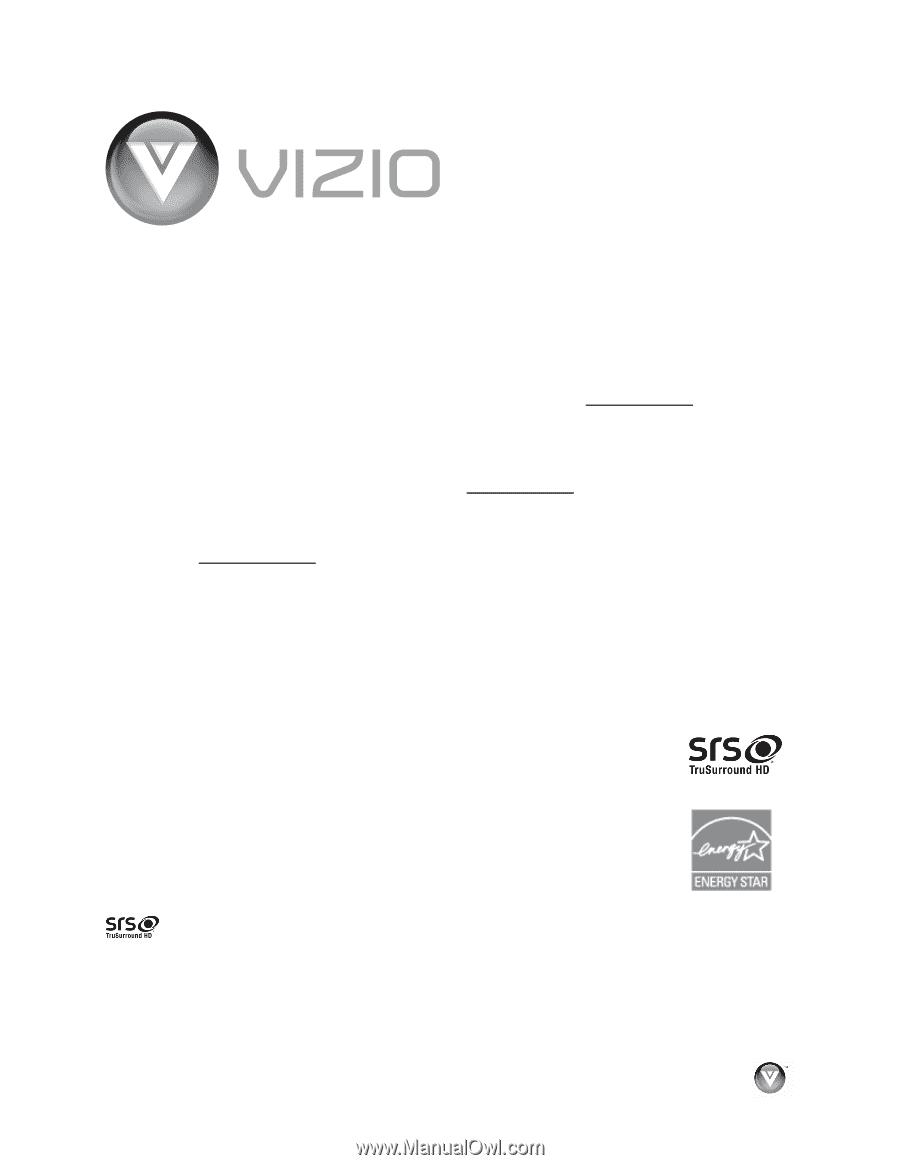 vizio vo32oe vo320e hdtv user manual rh manualowl com Vizio VO320E Stand Vizio VO320E Rear Bolt Pattern
