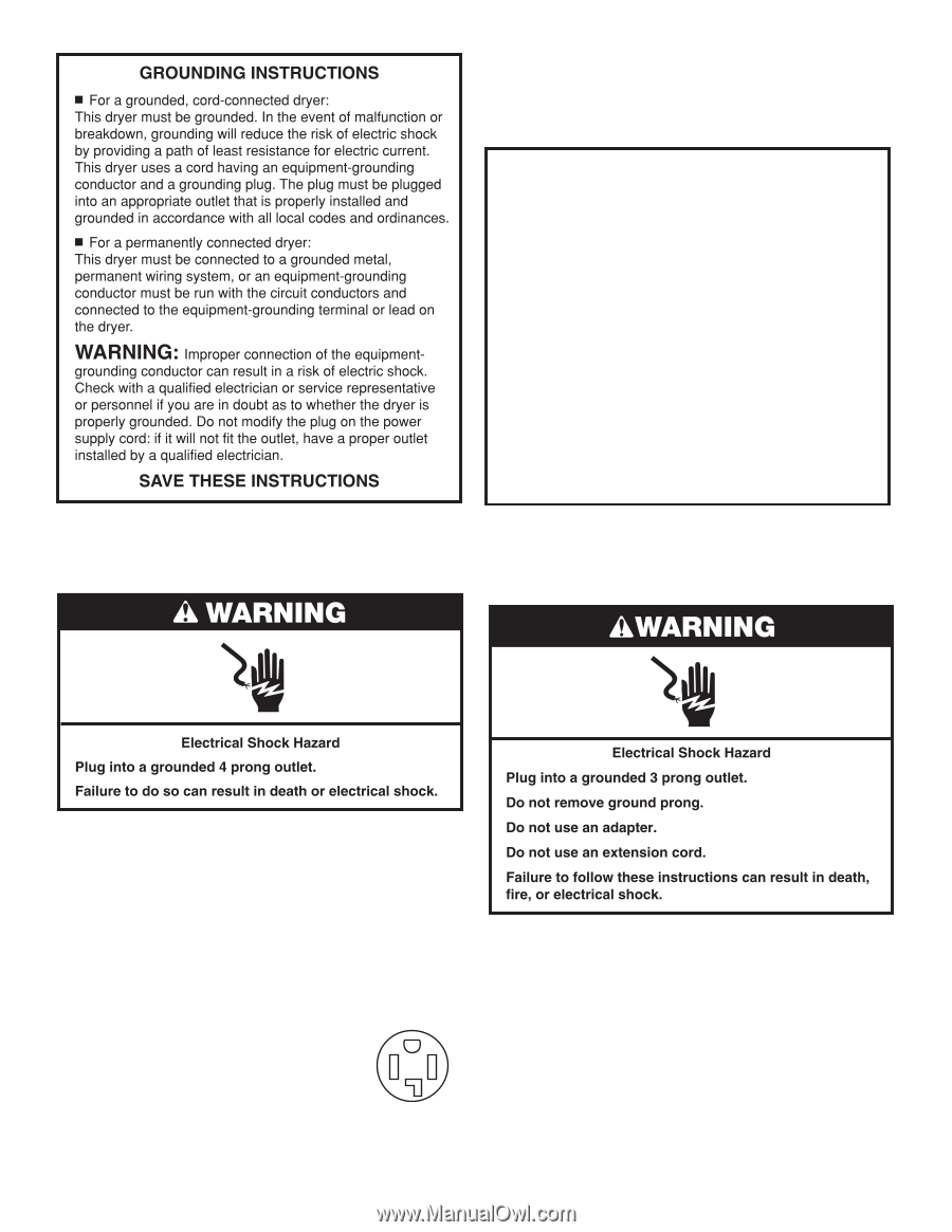 Whirlpool Wed4616fw Installation Guide Page 8 Electrical Outlet Wiring