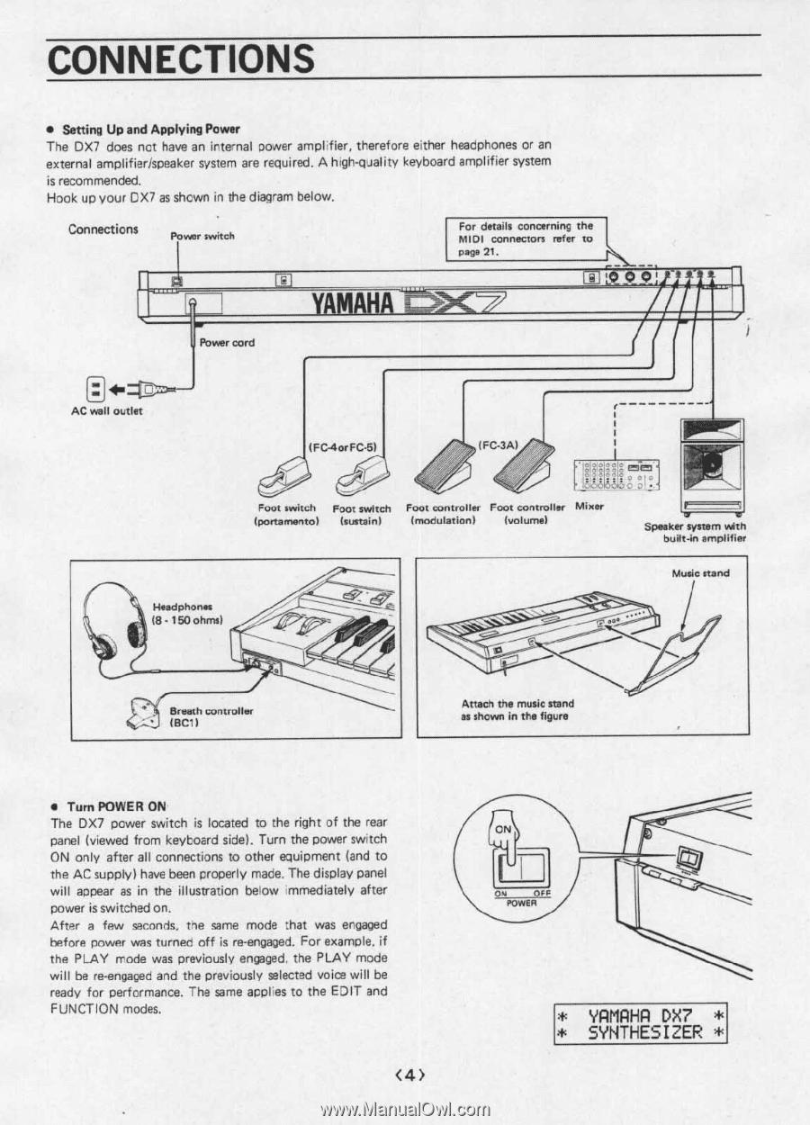 Yamaha DX7 | Operating Manual (image) on