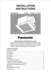 Panasonic FV20VQ3 Manual