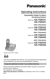 Free Pdf Manual Download For The Panasonic Kx Tg9341t Cordless Phone Metallic Expandable Digital Cordless Ans Sys