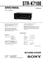 Sony Str K7100 Multi Channel Av Receiver Manual
